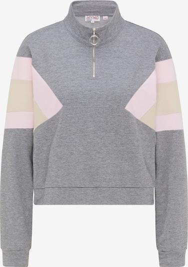 myMo ATHLSR Sportsweatshirt in beige / graumeliert / pastellpink, Produktansicht
