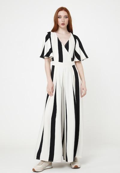 Madam-T Jumpsuit 'EMILI' in de kleur Zwart / Wit, Modelweergave