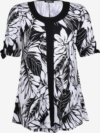 seeyou Longshirt mit Blätterprint in schwarz: Frontalansicht