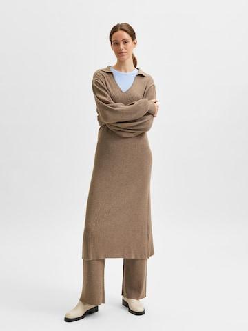 SELECTED FEMME Strikkekjole 'Selene' i brun