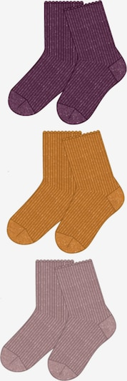 NAME IT Socken 'NMFROSIN' in senf / mauve / weinrot, Produktansicht