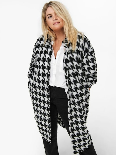 ONLY Carmakoma Between-Seasons Coat 'Andrea' in Black / White, View model
