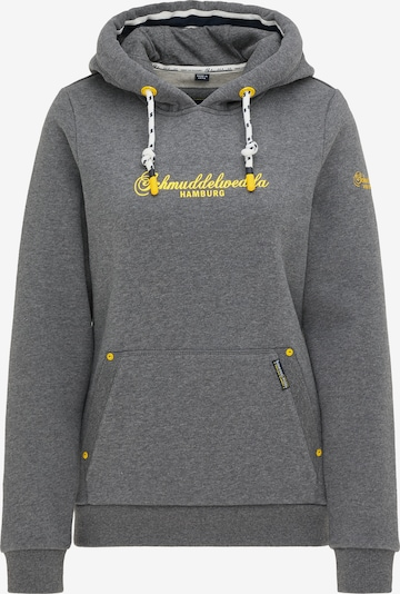 Schmuddelwedda Hoodie 'Hamburg' in gelb / graumeliert, Produktansicht