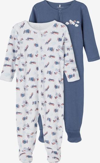 NAME IT Schlafanzug in taubenblau / pastellrot / weiß, Produktansicht