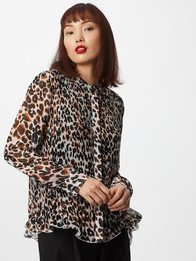 Calvin Klein Bluse 'Georgette' in cognac / schwarz / weiß, Modelansicht