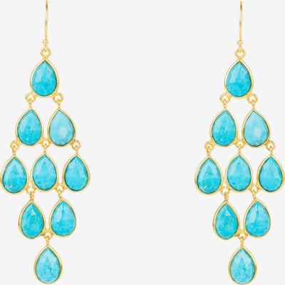 Latelita Boucles d'oreilles 'Erviola' en bleu / turquoise / or, Vue avec produit