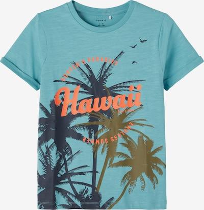 NAME IT T-Shirt 'Johan' en aqua / bleu foncé / corail, Vue avec produit