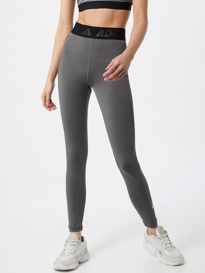 ADIDAS PERFORMANCE Sporthose in grau / schwarz / weiß: Frontalansicht