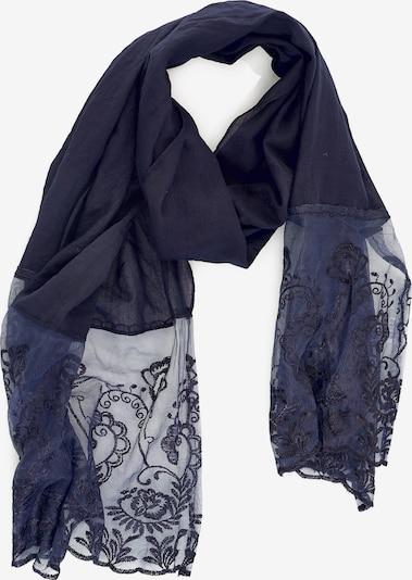 Emma & Kelly Schal mit tollem Spitzen-Besatz in blau, Produktansicht