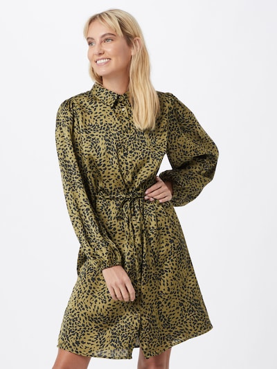PIECES Kleid 'Danni' in khaki / schwarz, Modelansicht
