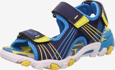 SUPERFIT Chaussures ouvertes 'HENRY' en bleu / bleu marine / jaune, Vue avec produit