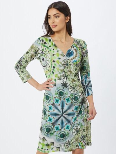 Cartoon Kleid in blaumeliert / neongrün / hellgrün / weiß, Modelansicht