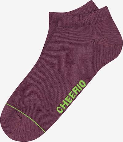 CHEERIO* Čarape 'SNEAKER PAL' u neonsko zelena / tamno ljubičasta, Pregled proizvoda