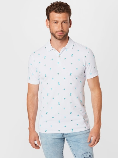 Petrol Industries Тениска в морскосиньо / небесносиньо / бяло: Изглед отпред