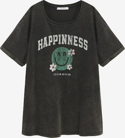 VIOLETA by Mango Shirt 'Smile' in de kleur Groen / Zwart / Wit, Productweergave