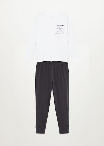 MANGO KIDS Pyjama 'Bugs' en anthracite / blanc, Vue avec produit
