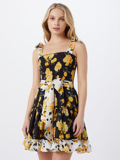 River Island Plážové šaty - žlutá / černá / bílá, Model/ka