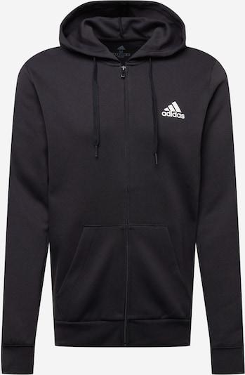 ADIDAS PERFORMANCE Спортна жилетка с качулка в черно / бяло: Изглед отпред