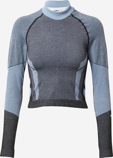 Hummel T-Shirt in beige / taubenblau / schwarz, Produktansicht
