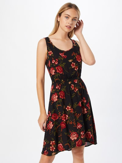 ONLY Kleid 'NOVA' in oliv / pastellpink / rot / schwarz, Modelansicht