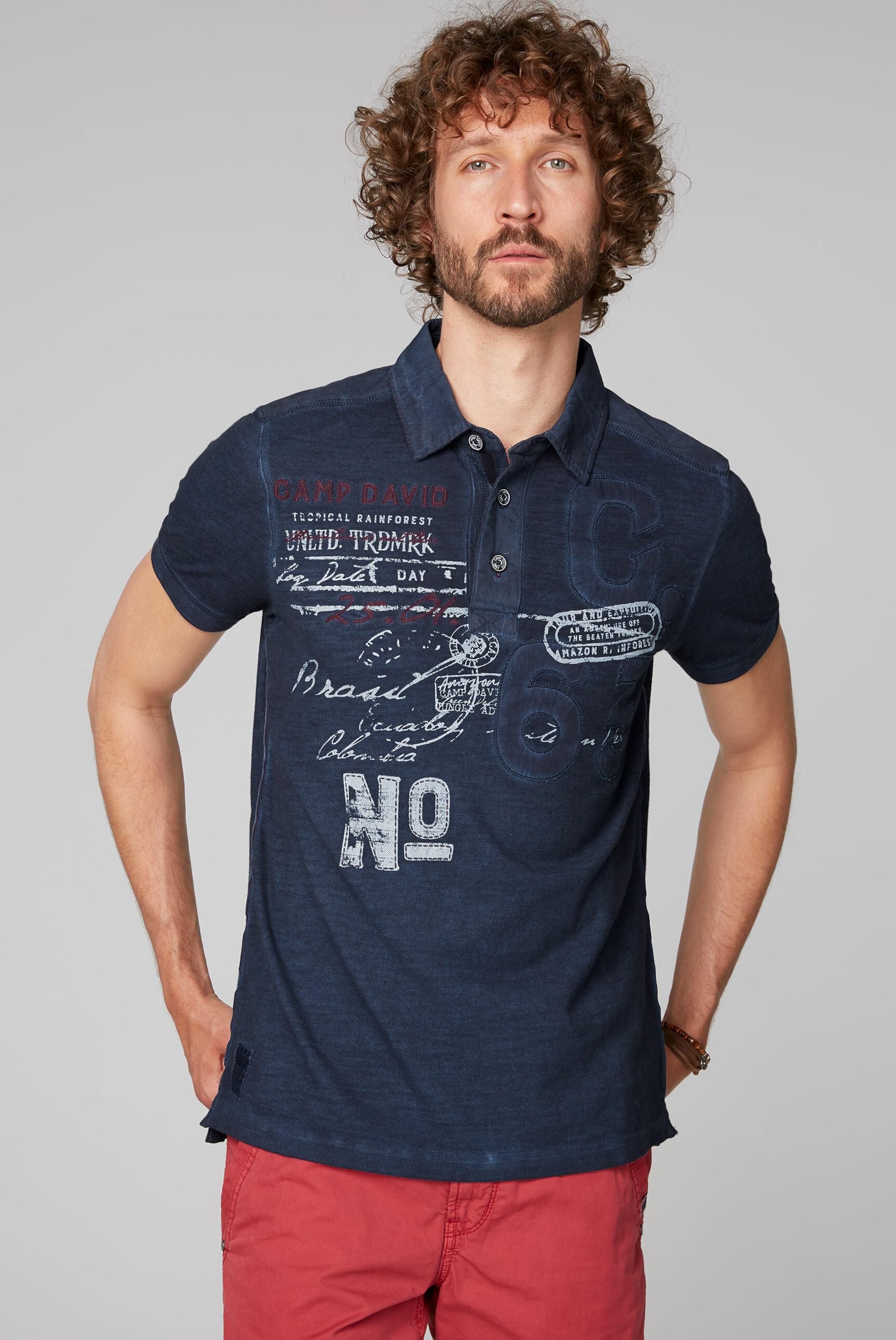 CAMP DAVID T-Shirt in dunkelblau / mischfarben Gerader Saum I00044794BLU0097S