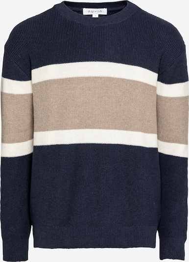 NU-IN Pullover in camel / navy / offwhite, Produktansicht