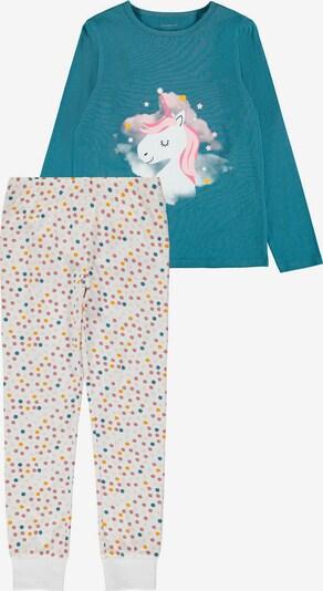 NAME IT Schlafanzug 'Unicorn' in champagner / rauchblau / gelb / rosa / wollweiß, Produktansicht