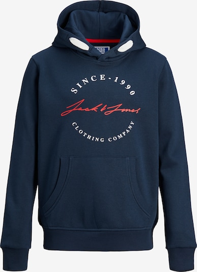 Jack & Jones Junior Sweatshirt 'Herro' i marinblå / eldröd / vit, Produktvy