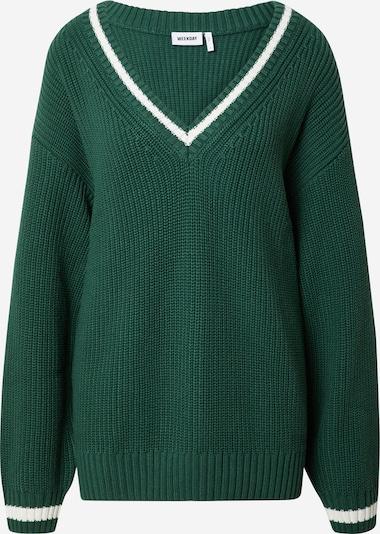 WEEKDAY Пуловер 'North' в тревнозелено / бяло, Преглед на продукта