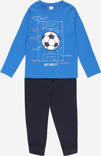STACCATO Pijama en azul real / azul oscuro / rojo neón / blanco, Vista del producto