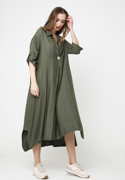 Madam-T Maxikleid 'GILBERTA' in grün, Modelansicht