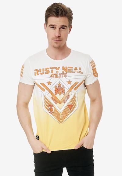 Rusty Neal T-Shirt aus formbeständiger Baumwolle in gelb / orange / weiß: Frontalansicht