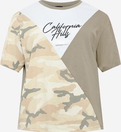 River Island Plus T-Shirt 'SPLICE' in beige / khaki / schwarz / weiß, Produktansicht