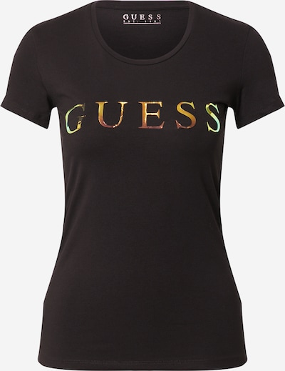 GUESS Shirt in dunkelbraun / gelb / mint / orange / schwarz, Produktansicht