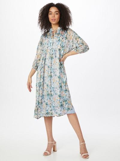 Love & Divine Kleid 'Love620' in dunkelbraun / smaragd / pastellpink / weiß, Modelansicht