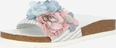 SUNSHINE Pantolette 'Jella' in hellblau / graumeliert / altrosa / weiß, Produktansicht