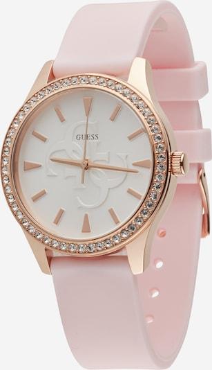 GUESS Armbanduhr in bronze / rosa / silber / weiß, Produktansicht