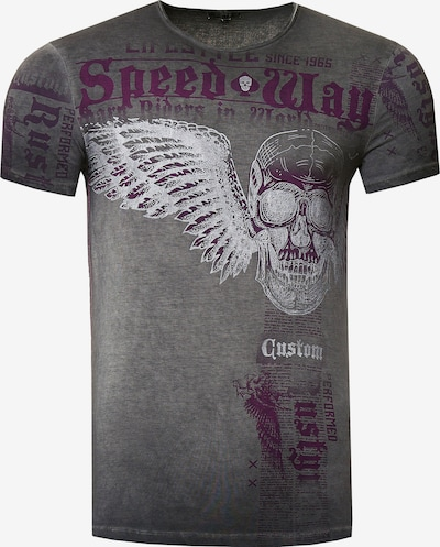 Rusty Neal T-Shirt mit 'Flying Skull' Front Print in anthrazit, Produktansicht