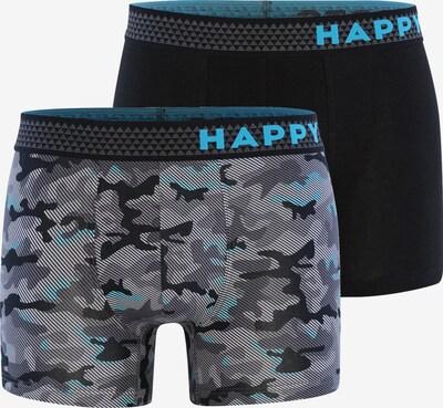 Happy Shorts Boxershorts ' Trunks #2 ' in de kleur Lichtblauw / Grijs / Zwart, Productweergave