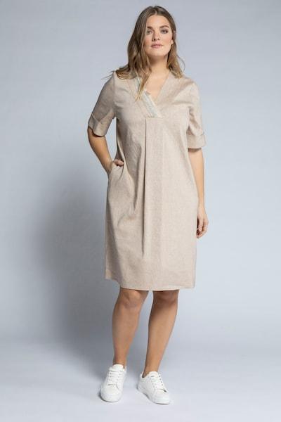 Ulla Popken Kleid in beige / hellgrau, Modelansicht