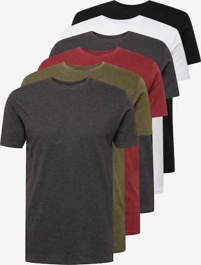 Denim Project T-Shirt in graumeliert / oliv / dunkelrot / schwarz / weiß, Produktansicht