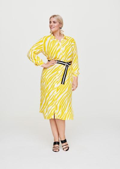 Rock Your Curves by Angelina K. Blusenkleid in gelb, Modelansicht