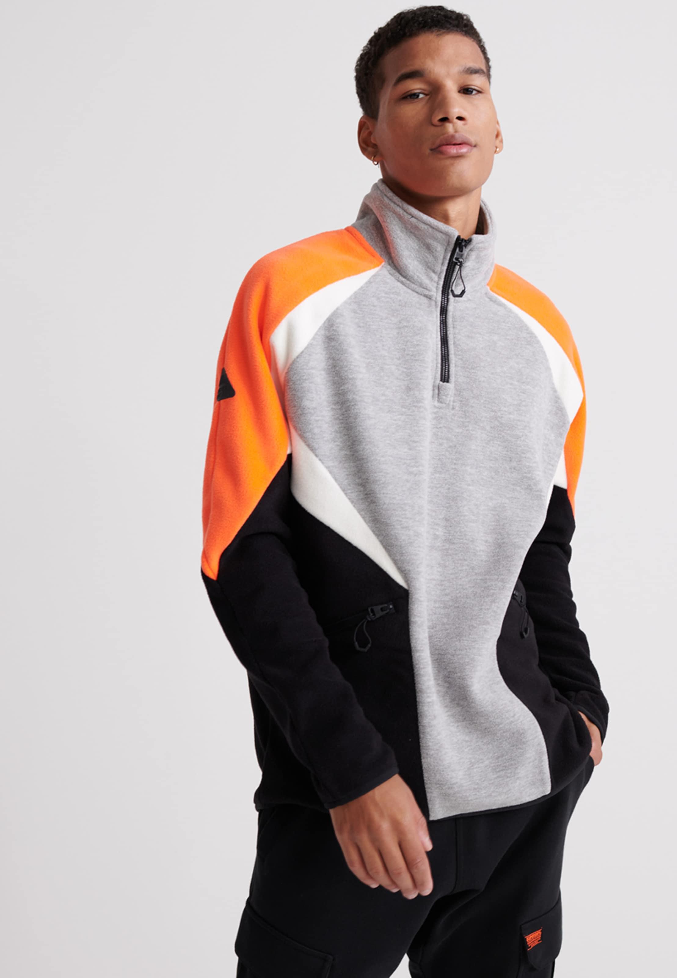 Superdry Hoodie in grau / orange / schwarz / weiß Sweatstoff 104060750035007Q001