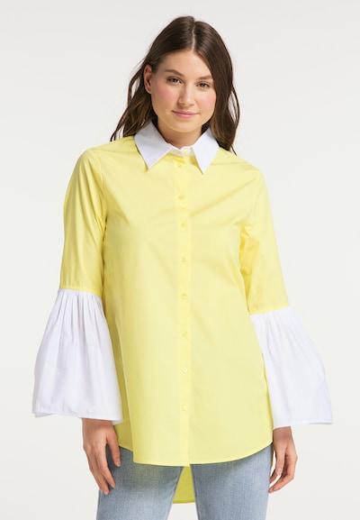 MYMO Bluse in zitrone / weiß, Modelansicht
