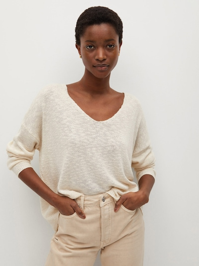 MANGO Pullover 'OPORTO' in taupe, Modelansicht