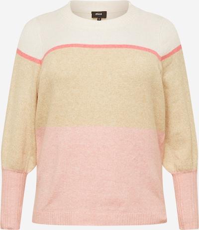 Zizzi Pulover 'SUNNY' | kremna / svetlo rjava / losos / pegasto roza barva, Prikaz izdelka