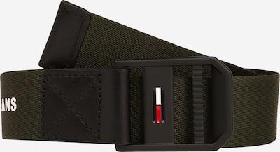 Tommy Jeans Колан в тъмнозелено / черно / бяло, Преглед на продукта