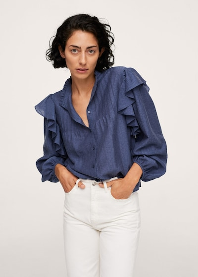 MANGO Bluse 'Dakota' in blau, Modelansicht