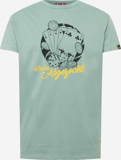 Derbe Shirt 'Abgezockt' in gelb / jade / schwarz, Produktansicht