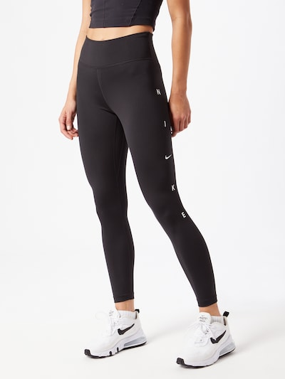 NIKE Sporthose in schwarz / weiß: Frontalansicht